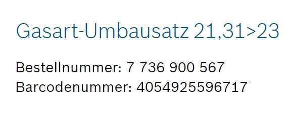 Junkers Bosch Gasart-Umbausatz 21,31>23 Erdgas E/H - 7736900567