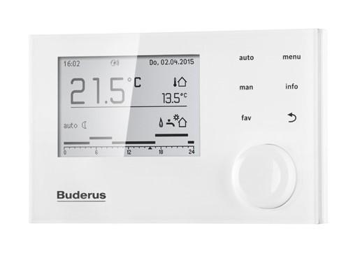 BUDERUS Logamatic RC310 weiß EMS System-Bedieneinheit mit Außenfühler 7738113410